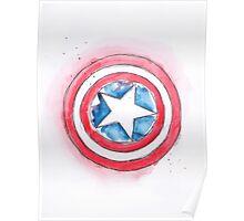 Captain America's Shield Watercolour Illustration Poster