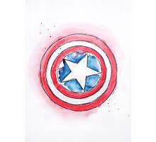 Captain America's Shield Watercolour Illustration Photographic Print