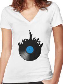 New York, New York Women's Fitted V-Neck T-Shirt
