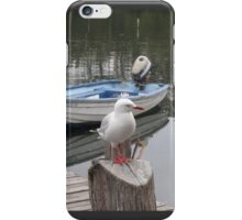PERCHED BY A BLUE DINGHY iPhone Case/Skin