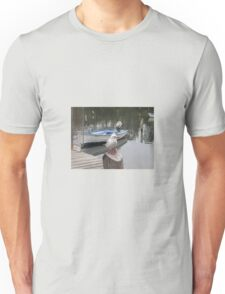PERCHED BY A BLUE DINGHY Unisex T-Shirt