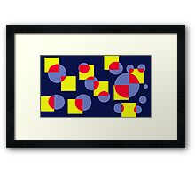 Circles and Squares on Blue - Contemporary Art Framed Print