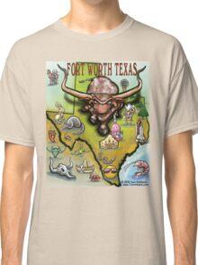 Fort Worth Texas Cartoon Map Classic T-Shirt