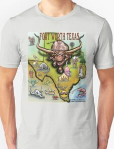 Fort Worth Texas Cartoon Map Unisex T-Shirt