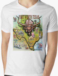 Fort Worth Texas Cartoon Map Mens V-Neck T-Shirt