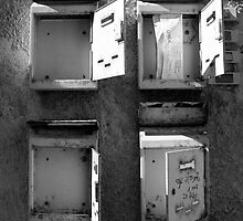 Old mailboxes Black and White Image by Margarita K