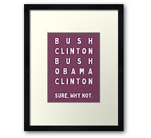 Bush Clinton Bush Obama Clinton. Why Not? Framed Print