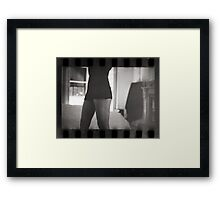 Young lady in bedroom 35mm analog silver gelatin photograph Framed Print