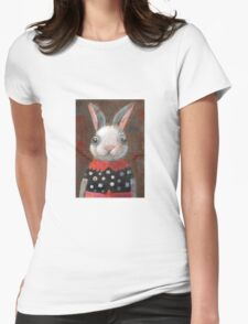 White Rabbit Girl Womens Fitted T-Shirt