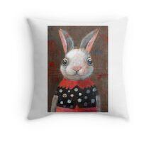 White Rabbit Girl Throw Pillow