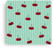 Cheery Cherries and Stripes Canvas Print