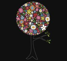 Whimsical Colorful Spring Flowers Pop Tree One Piece - Long Sleeve