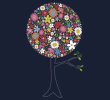 Whimsical Colorful Spring Flowers Pop Tree Baby Tee