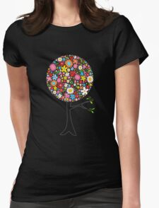 Whimsical Colorful Spring Flowers Pop Tree Womens Fitted T-Shirt