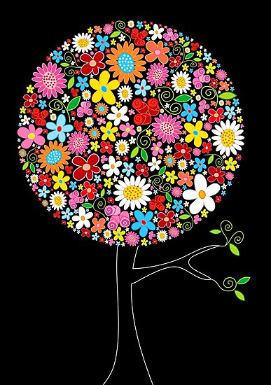 Whimsical Colorful Spring Flowers Pop Tree by fatfatin