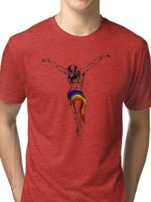 Gay Christ Wearing Rainbow LGBT Loincloth Tri-blend T-Shirt
