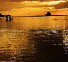 Fishing by the Floating Hut, Alinao Batangas, Philippines by Jojie Certeza