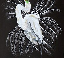 Great egret mating display by Linda Sparks