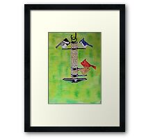 Abstract Feeding Birds Mixed Media  Framed Print