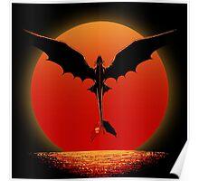 Dragon on Sunset Poster