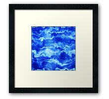 Stormy Blue Abstract Waves Framed Print