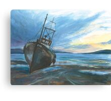 High & dry on an ebbing winter's tide Canvas Print