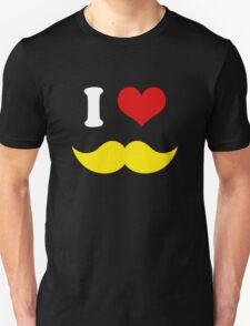 I Heart I Love Yellow Blond Mustaches on Black Background T-Shirt