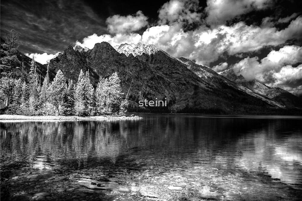 Jenny Lake at Grand Tetons - BW_IR by steini