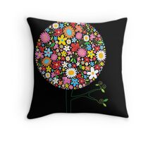 Whimsical Colorful Spring Flowers Pop Tree II Throw Pillow