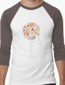 Whimsical Colorful Spring Flowers Pop Tree II Men's Baseball ¾ T-Shirt