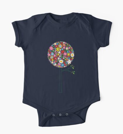 Whimsical Colorful Spring Flowers Pop Tree II One Piece - Short Sleeve