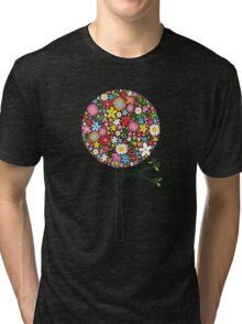 Whimsical Colorful Spring Flowers Pop Tree II Tri-blend T-Shirt