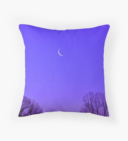 Periwinkle Moonrise Throw Pillow