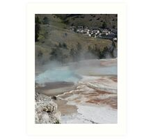 Mammoth Hot Springs and Town Below Art Print