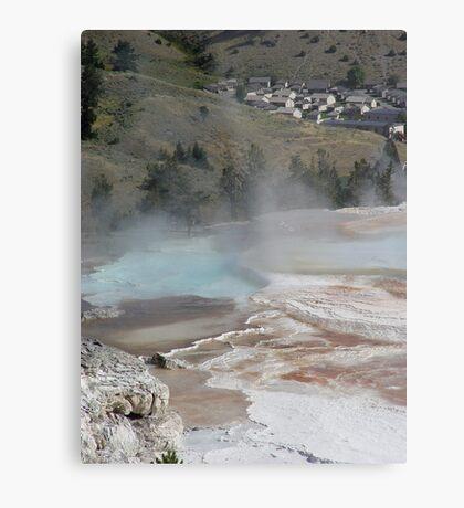 Mammoth Hot Springs and Town Below Metal Print