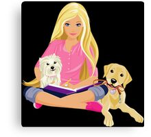 Barbie Girl With Cute Dog Canvas Print