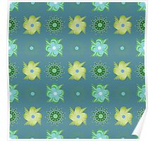 Abstract green flowers pattern Poster