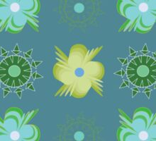 Abstract green flowers pattern Sticker