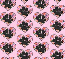 Pawprint in Heart with Pink Flowers by StaffyDognCo