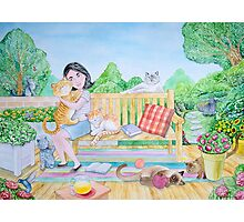 The girl and the cats Photographic Print
