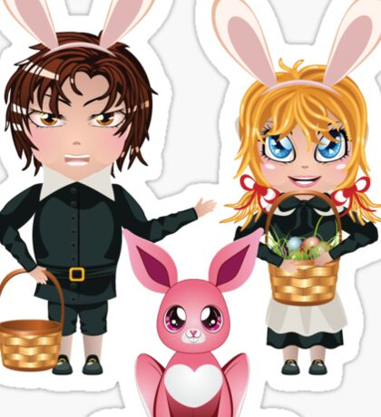 Easter Boy and Girl 2 Sticker