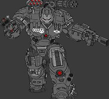 War Machine Tony Stark's Hulkbuster Suit Armour , Black outline with colour fill by Adamasage