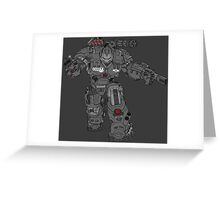 War Machine Tony Stark's Hulkbuster Suit Armour , Black outline with colour fill Greeting Card