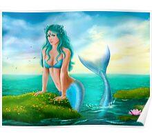 Fantasy beautiful young woman mermaid in sea Poster