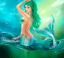 mermaid fantasy at ocean on waves by Alena Lazareva