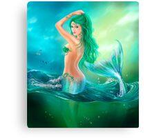 mermaid fantasy at ocean on waves Canvas Print
