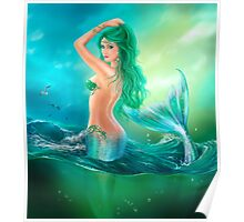 mermaid fantasy at ocean on waves Poster