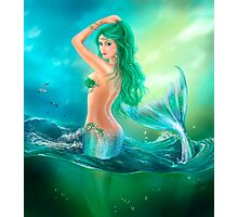 mermaid fantasy at ocean on waves Photographic Print