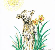 Joyful baby Lamb by Teresa White