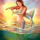 Beautiful  fantasy mermaid plays on violin on sunset by Alena Lazareva